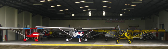 Hangar with ultralight planes owned by our members